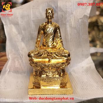 Tượng Phật Hoàng Trần Nhân Tông bằng đồng mạ vàng 24k