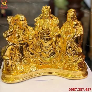 Tượng tam đa, tượng phúc lộc thọ bằng đồng mạ vàng 24k