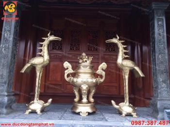 Hạc thờ bằng đồng vàng cao 2m2
