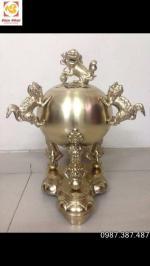 Đỉnh thất lân vờn cầu, đỉnh quả bóng cao 110cm đồng vàng cát tút