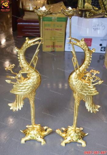 Đôi hạc đồng vàng mạ vàng 24k