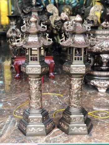 Đèn đồng thờ cúng mọi kích thước cho đình chùa miếu mạo