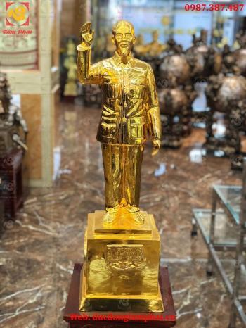 Tượng Bác Hồ Vẫy Tay Chào Cao 90cm Bằng Đồng Mạ Vàng 24k