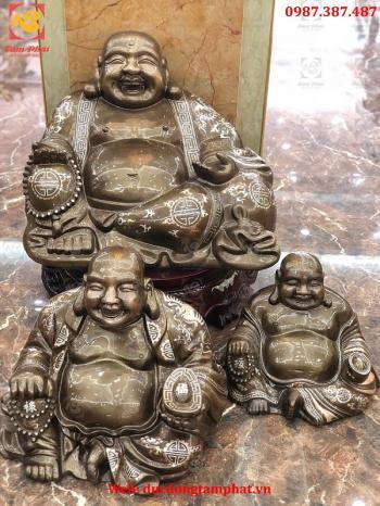 Tượng Đồng Phật Di Lặc Khảm Tam Khí Cao 40cm