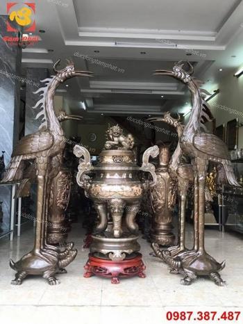 Đôi hạc thờ bằng đồng hun giả cổ cao 1m7