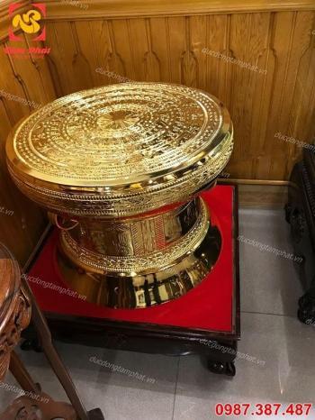 Trống đồng Ngọc Lũ mạ vàng 24k, đường kính 40cm