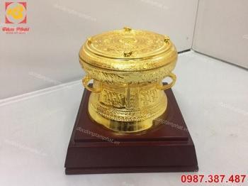 Trống đồng lưu niệm đường kính 20cm mạ vàng