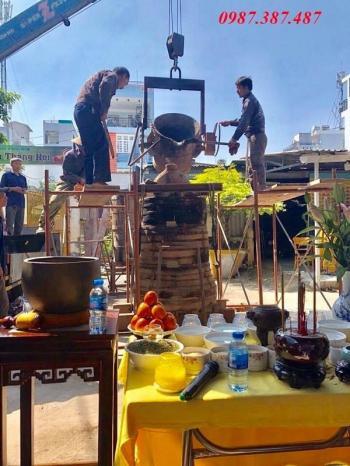 Đúc chuông đồng chuông chùa Phổ Huệ TP Hồ Chí Minh cao 1m6 nặng 350kg
