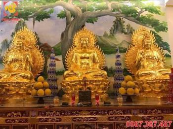 Tượng Phật đồng đỏ nguyên chất thếp vàng tinh khiết