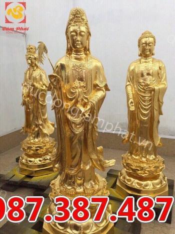 Tượng các vị Bồ Tát bằng đồng thếp vàng bền đẹp, tinh xảo