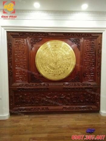 Phù điêu mặt trống đồng thếp vàng đường kính 100cm