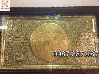 Tranh mặt trống đồng liền khung thếp vàng 9999 đường kính 1m2