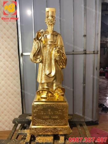 Tượng đồng Nguyễn Trãi cao 70cm thếp vàng 9999