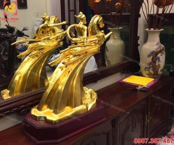 Tượng Thánh Gióng bằng đồng thếp vàng 9999 cao 20, 30cm, 40cm, 60cm