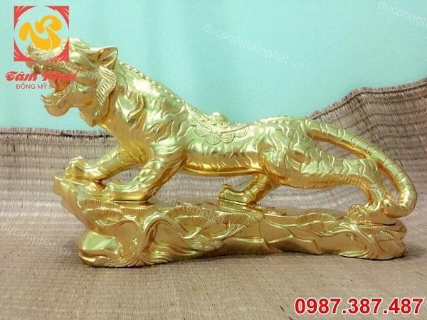 Tượng Hổ đồng phong thuỷ dài 80cm thếp vàng 9999 đẹp xuất sắc.!!