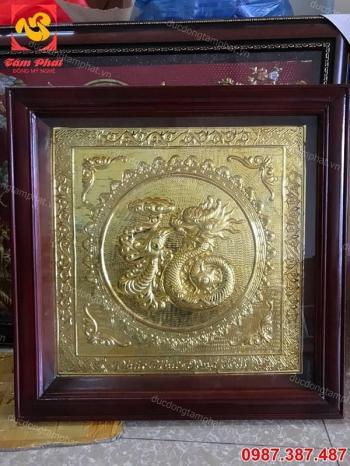 Chữ Phúc Hoá rồng vuông 60cm mạ vàng tuyệt đẹp