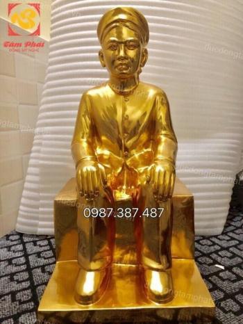 Đúc tượng chân dung, tượng truyền thần cả người cao 60cm thếp vàng 9999.!!!