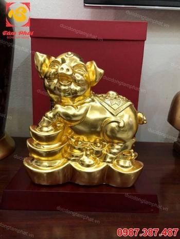 Lợn đồng phong thủy thếp vàng 9999 tinh xảo, đẹp mắt, chất lượng