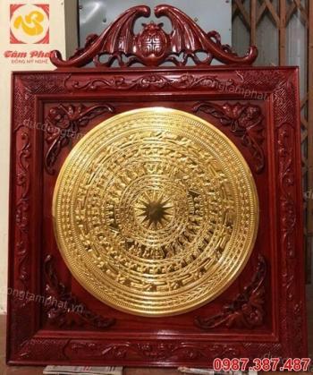 Mặt trống đồng thếp vàng 9999 - khung gỗ gụ cao cấp, cực đẹp