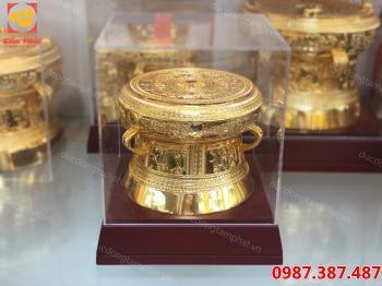 Trống đồng, trống đồng mạ vàng đường kính 15 cm