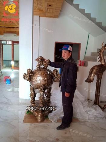 Đỉnh thất lân vờn cầu 90cm và 1m35 khảm vàng cực tinh xảo bàn giao cho khách hàng ở An Lão – Hải Phòng