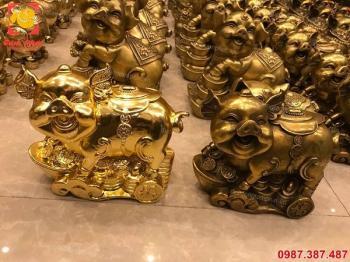 Linh vật heo phong thuỷ bằng đồng mạ vàng tuyệt đẹp, kích thước đa dạng.!!