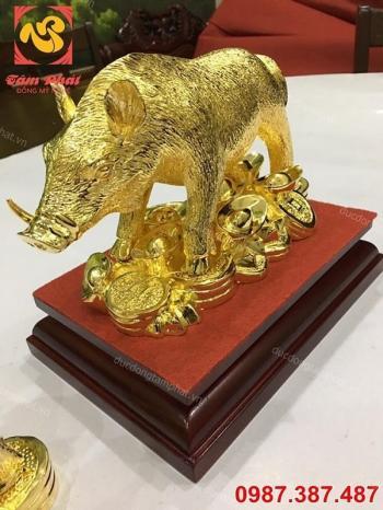 Tượng lợn tài lộc mạ vàng - linh vật heo phong thủy dài 25cm cực đẹp.!!