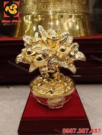 Cây tiền tài lộc mạ vàng 24k - vật phẩm phong thủy để bàn