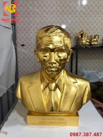 Đúc tượng chân dung, tượng truyền thần cao 42cm thếp vàng 9999.!!!