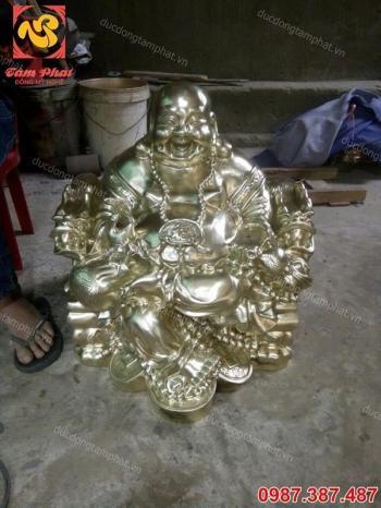 Tượng Phật Di Lặc cao 60cm đồng vàng cát tút ngồi ngai.!!