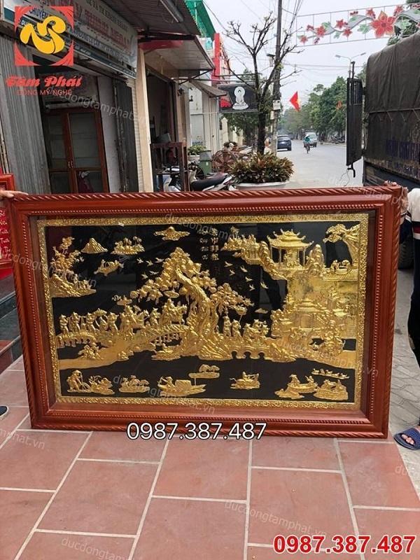 Tranh Vinh Quy Bái Tổ: Kích thước 2m3 x 1m2 mạ vàng đẳng cấp tuyệt đẹp
