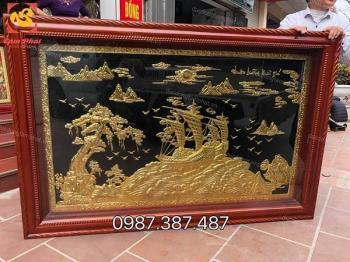 Tranh Thuận Buồm Xuôi Gió mạ vàng 24k tuyệt đẹp kích thước 2m3 x 1m2