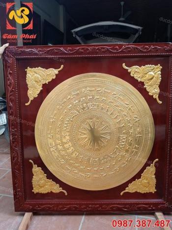 Mặt trống đồng đường kính 90cm khung 1m3 gỗ gụ mạ vàng 24k