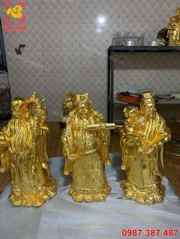 Tượng đồng Tam đa Phúc Lộc Thọ cao 40cm mạ vàng 24k