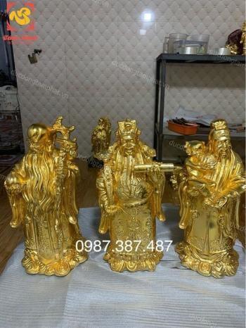 Tượng Tam đa Phúc Lộc Thọ cao 60cm mạ vàng 24k