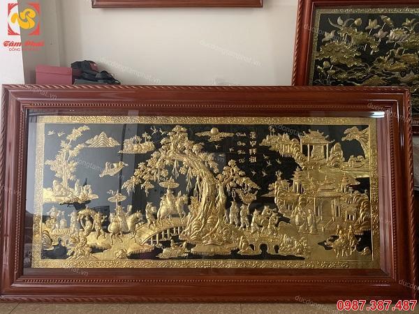 Tranh đồng Vinh quy bái tổ 2m3 x 1m2 mạ vàng 24k