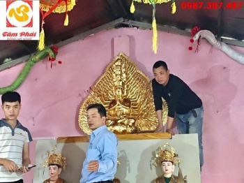 Tượng đồng Thiên Thủ Thiên Nhãn thếp vàng 9999 cao 1m07 bàn giao và lắp đặt cho chùa..!
