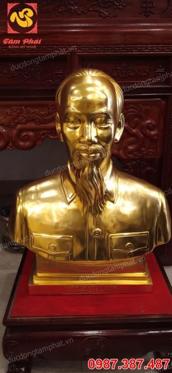 Tượng Bác Hồ bằng đồng mạ vàng 24k cao 60cm..!