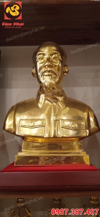 Tượng Bác Hồ bán thân cao 42cm mạ vàng 24k cực đẹp để hội trường..!