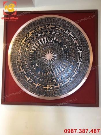 Mặt trống đồng đỏ đường kính 80cm khung gỗ gụ cực đẹp, tinh xảo, sắc nét..!