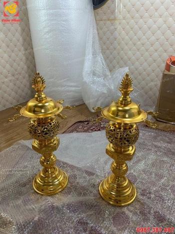 Đèn thờ bằng đồng cao 55cm mạ vàng 24k giá xưởng..!