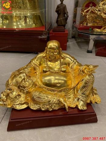 Tượng Phật Di Lặc bằng đồng mạ vàng 24k dài 45cm tuyệt đẹp..!