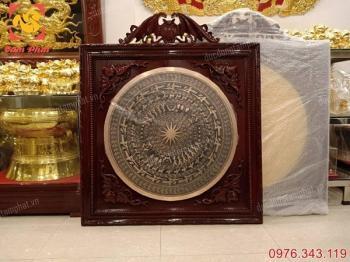 Mặt trống đồng Ngọc Lũ đường kính 80cm khung gỗ gụ 1m1 giá rẻ nhất