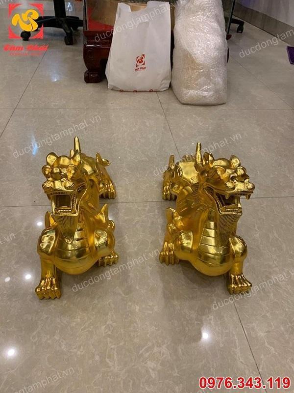 Đôi Tỳ Hưu bằng đồng mạ vàng dài 40cm - vật phẩm phong thuỷ số 1