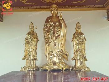 Bộ Tam Thánh: đúc tượng Adida, tượng đồng Quan Âm, tượng đồng Đại Thế Chí cao 2m5 đã lắp đặt và an vị tại chùa..!