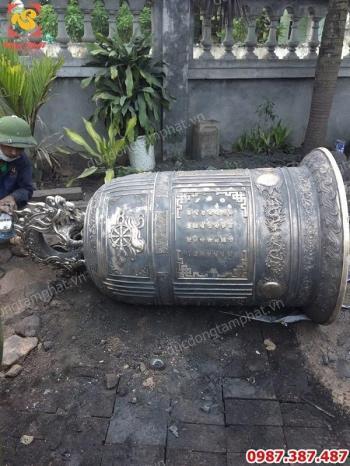Đúc chuông đồng hoạ tiết bánh xe pháp luân cho chùa Hoa Duyên - Thanh Miện Hải Dương