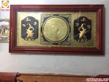 Tranh mặt trống đồng kết hợp Lý Ngư Vọng Nguyệt thếp vàng 9999
