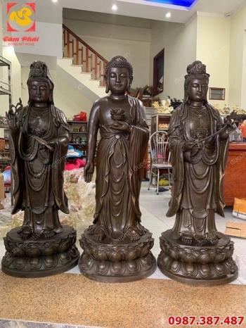 Đúc tượng Phật, bộ Tam thánh cao 1m2 Đức Adida, Quán Thế Âm, Đại Thế Chí Bồ Tát tuyệt đẹp..!