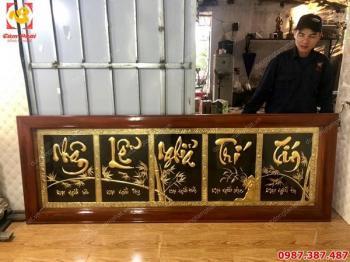 Bức tranh chữ đồng Nhân Lễ Nghĩa Trí Tín kích thước 2m x 60cm thếp vàng 9999 cho khách..!