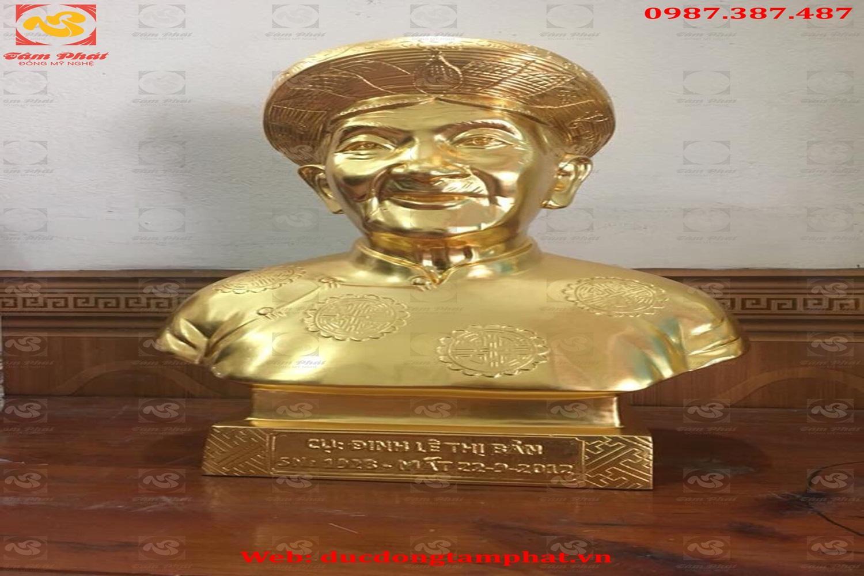 Tượng chân dung, đúc tượng chân dung bằng đồng đỏ dát vàng 9999